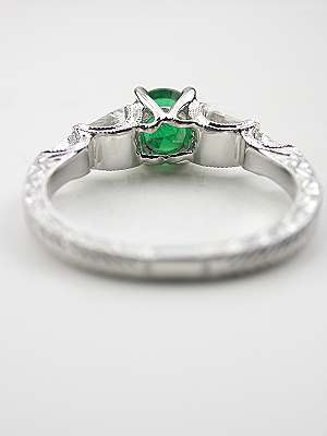 Emerald and Baguette Cut Diamond Engagement Ring
