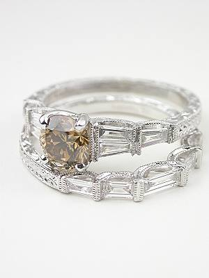 Wedding Ring with Baguette Cut Diamonds