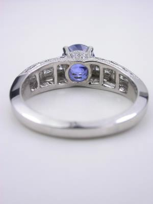 Antique Style Sapphire Ring with Princess Cut Diamonds
