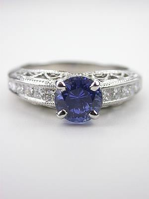 Vintage Style Sapphire Ring with Princess Cut Diamonds