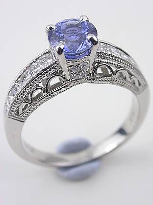 Vintage Style Sapphire Filigree Engagement Ring