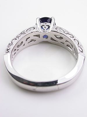 Filigree Engagement Ring with Blue Sapphire