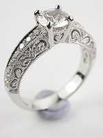 Filigree Engagement Ring with White Sapphire