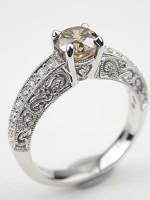 Pierced Filigree Engagement Ring