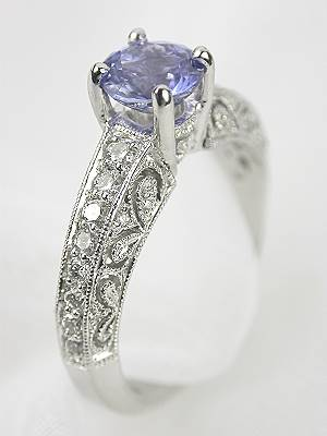 Pierced and Engraved Sapphire Engagement Ring