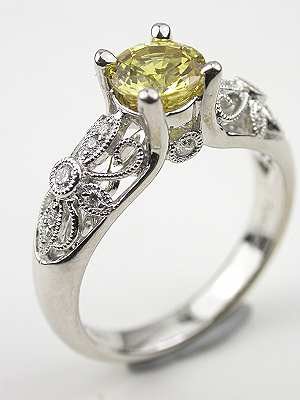 Yellow Sapphire Engagement Ring with Floral Design