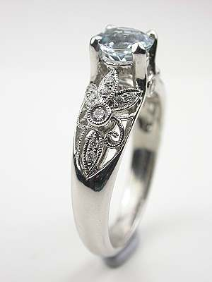 Aquamarine Engagement Ring with Pierced Motif