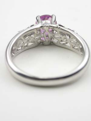 Pink Sapphire Engagement Ring with Floral Motif