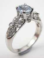 Aquamarine Engagement Ring with Pierced Motif