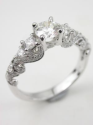 swirling diamond engagement ring - Vintage Style Wedding Rings