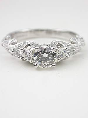 Swirling Diamond Engagement Ring