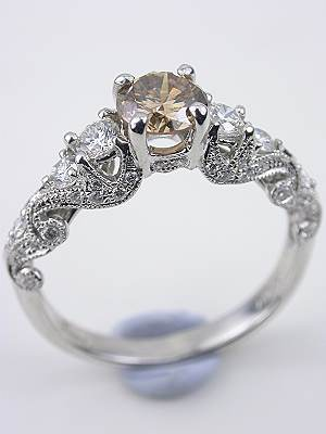 Swirling Champagne Diamond Engagement Ring