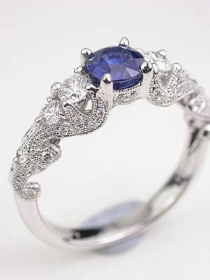 Swirling Blue Sapphire Engagement Ring