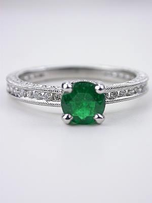 Classic Emerald and Diamond Engagement Ring