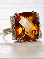 Classic Platinum Citrine Cocktail Ring
