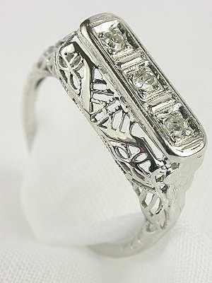 3 Stone 1920s Diamond Wedding Ring