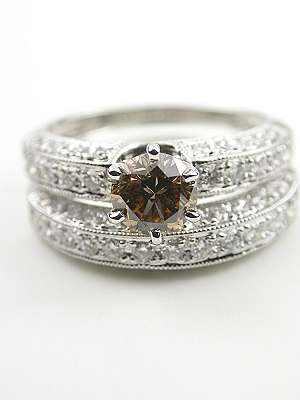 Antique Style Engagement and Wedding Rings Set