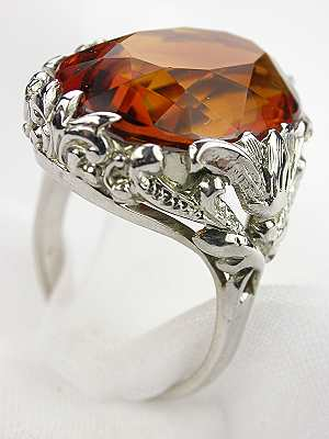 Citrine Antique Ring with Floral and Scroll Motif