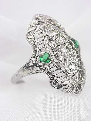 Filigree Cocktail Ring with Emerald Hearts