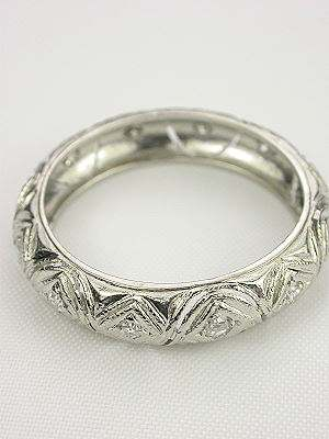Classic Platinum Filigree Antique Wedding Ring