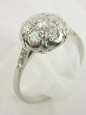1930's Antique Diamond Cluster Engagement Ring