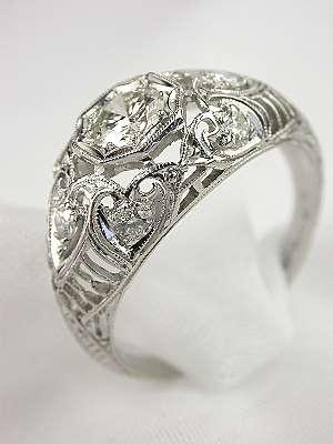 1920s Floral & Filigree Diamond Engagement Ring