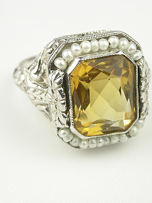 Antique Citrine and Pearls Filigree Cocktail Ring