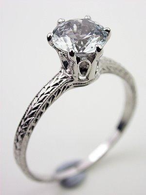White Tourmaline Estate Engagement Ring