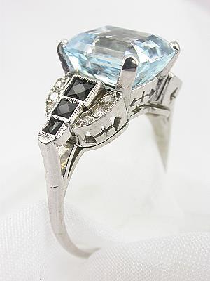 Art Deco Antique Aquamarine Engagement Ring