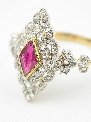 Victorian Ruby and Rose Cut Diamond Engagement Ring