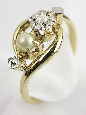 Antique Pearl Engagement Ring