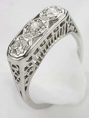 Old European Cut Diamond Antique Filigree Ring