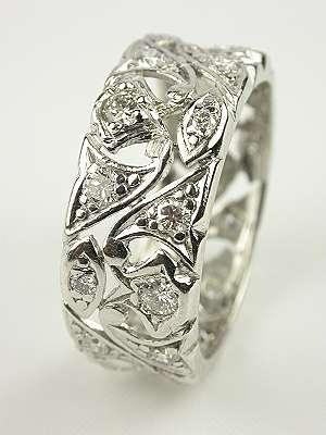 Floral Antique Diamond Wedding Ring