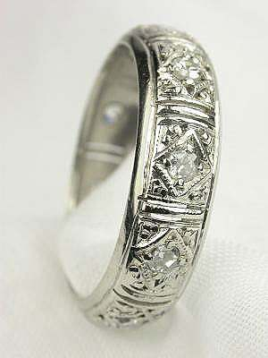 Filigree and Diamond Antique Wedding Ring