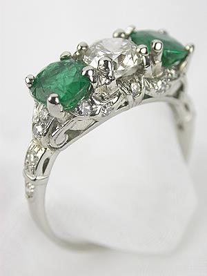 1935 Emerald and Diamond 3 Stone Antique Ring