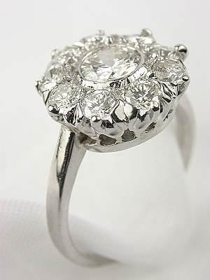 Antique Cluster Diamond Engagement Ring