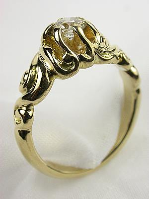 Art Nouveau Style Diamond Engagement Ring