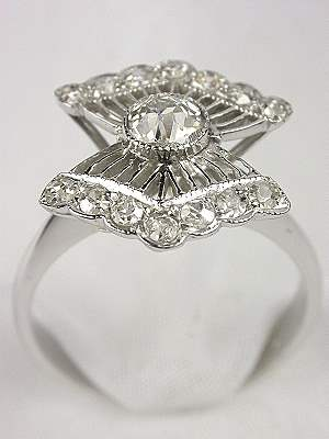 Unusual Old Cut Diamond Engagement Ring