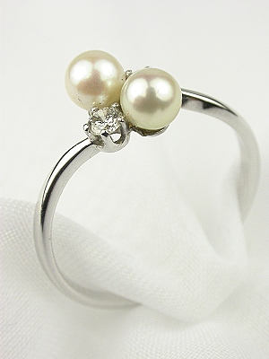 Antique Double Pearl Engagement Ring