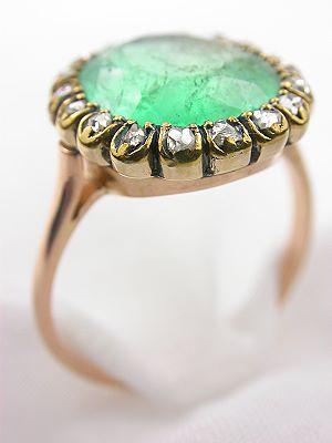 Victorian Emerald Antique Engagement Ring