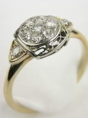 Post Art Deco Diamond Engagement Ring