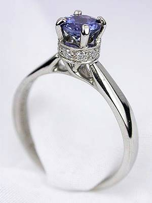 Cathedral Style Sapphire Estate Engagement Ring