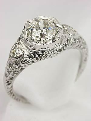 Edwardian Hearts Motif Filigree Engagement Ring