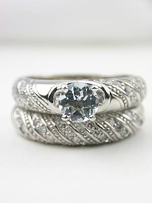 Aquamarine Engagement and Wedding Ring