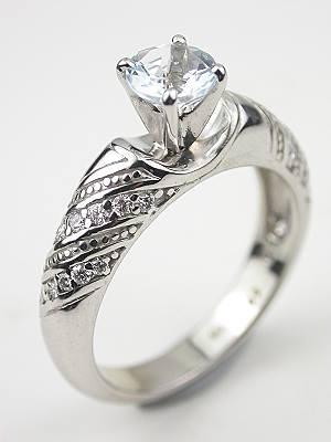Aquamarine Engagement and Wedding Ring