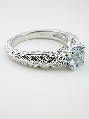 Aquamarine Engagement Ring with Wheat Motif