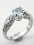 Aquamarine Engagement Ring with Wheat Motif