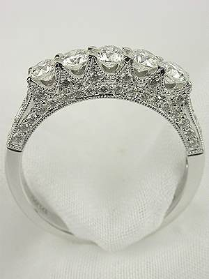 Antique Style 5 Stone Diamond Wedding Ring