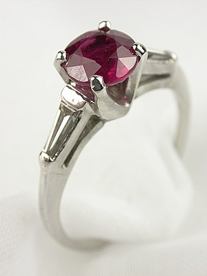 Ruby Antique Engagement Ring with Baguettes