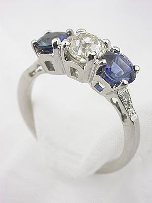Sapphire and Diamond 3 Stone Antique Ring